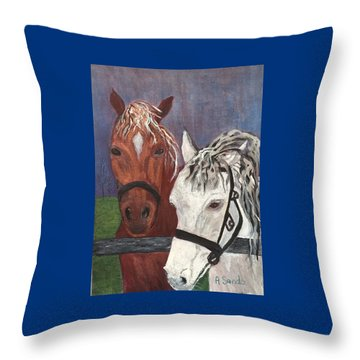 Brown And White Horses Throw Pillow