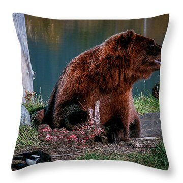 Brown Bear And Magpie Throw Pillow