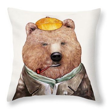Brown Bear Throw Pillow by Animal Crew