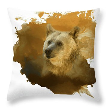 Throw Pillow featuring the painting Brown Bear by Steven Richardson