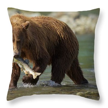 Brown Bear With Salmon Throw Pillow