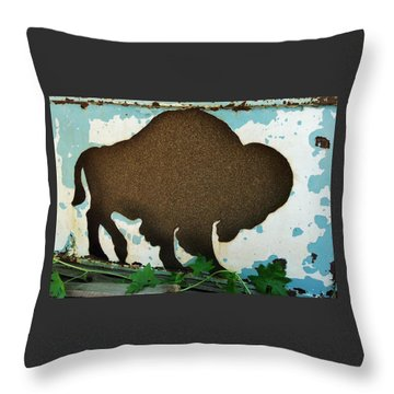 Throw Pillow featuring the photograph Brown Buffalo by Larry Campbell
