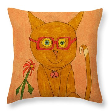 Brown Cat With Glasses Throw Pillow