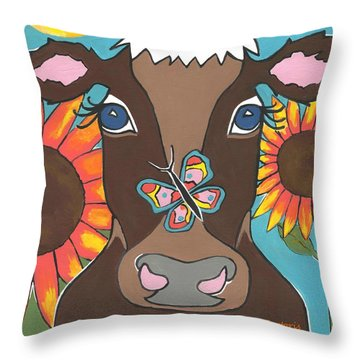 Brown Cow - Children Animal Art Throw Pillow