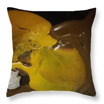 Brown Dolphin Eating A Lemon Throw Pillow