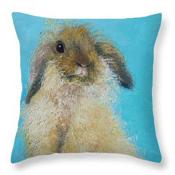 Brown Easter Bunny Throw Pillow by Jan Matson