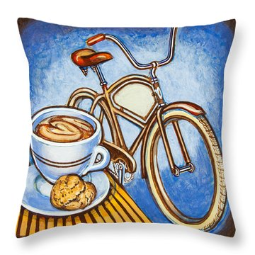 Brown Electra Delivery Bicycle Coffee And Amaretti Throw Pillow