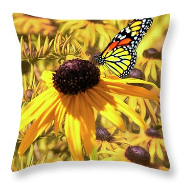 Brown Eyed Susens And The Monarch Throw Pillow by Diane Schuster