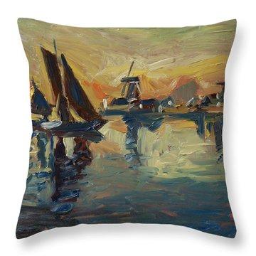 Brown Fleet On The Zaan Throw Pillow by Nop Briex