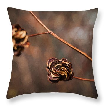 Brown Flower Seed Throw Pillow