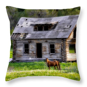 Brown Horse And Old Log Cabin Throw Pillow