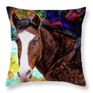 Brown Horse Digital Art Throw Pillow