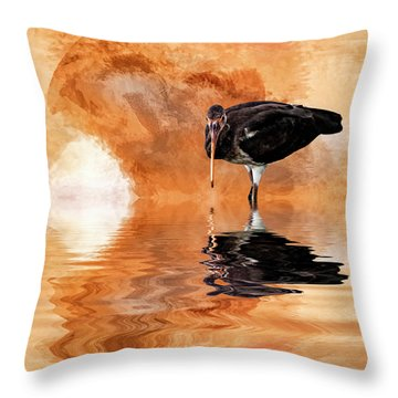 Brown Ibis Throw Pillow by Cyndy Doty