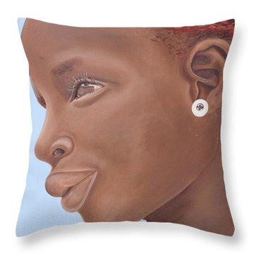 Brown Introspection Throw Pillow by Kaaria Mucherera