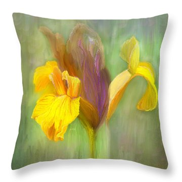 Brown Iris Throw Pillow by Angela A Stanton