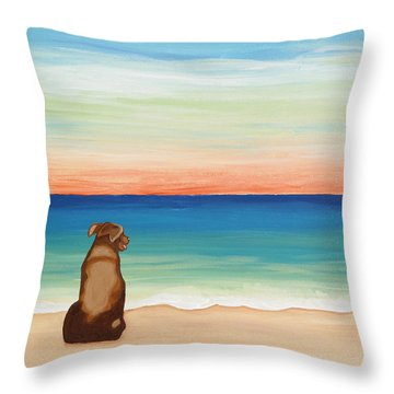 Brown Lab Dog On The Beach Throw Pillow
