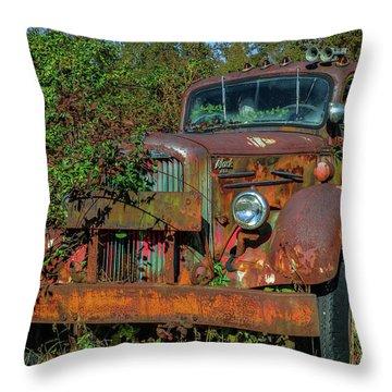 Brown Mack Truck Throw Pillow