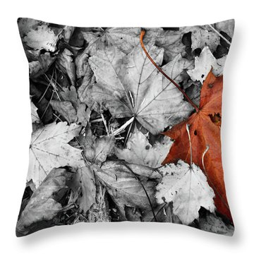 Brown Maple Leaf Throw Pillow