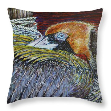 Brown Pelican Throw Pillow by David Joyner