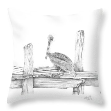 Brown Pelican Throw Pillow by Patricia Hiltz