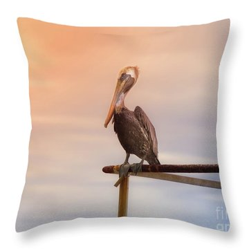 Brown Pelican Sunset Throw Pillow by Robert Frederick