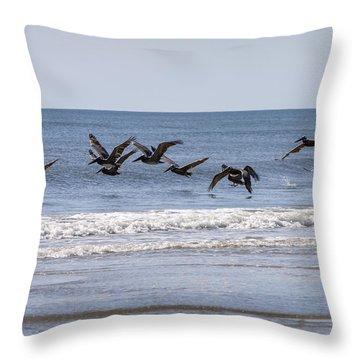 Brown Pelicans In Flight Throw Pillow