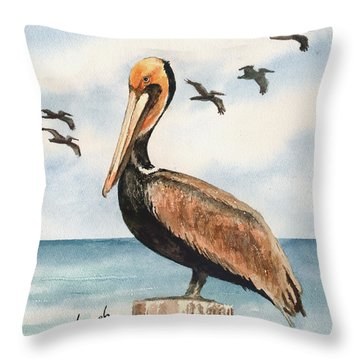 Brown Pelicans Throw Pillow