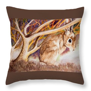 Brown Rabbit Throw Pillow