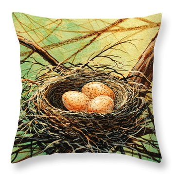 Brown Speckled Eggs Throw Pillow