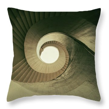 Throw Pillow featuring the photograph Brown Spiral Stairs by Jaroslaw Blaminsky