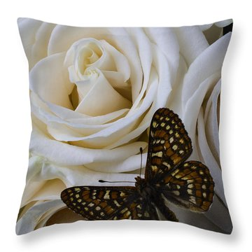Brown Spotted Butterfly Throw Pillow