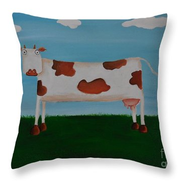 Brown Spotted Cow Throw Pillow