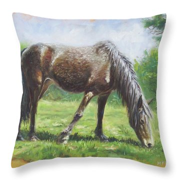 Brown Standing Horse Eating Throw Pillow