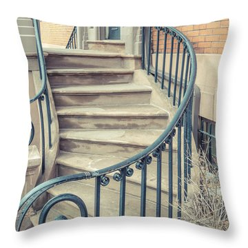 Throw Pillow featuring the photograph Walkup Brownstone Stairs Providence Rhode Island by Edward Fielding