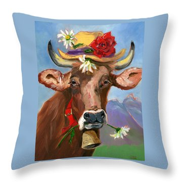Brown Swiss In Summer Hat Throw Pillow