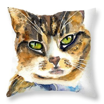 Brown Tabby Cat Watercolor Throw Pillow