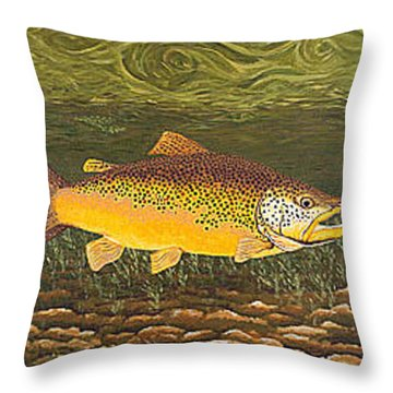 Brown Trout Fish Art Print Touch Down Brown Trophy Size Football Shape Brown Trout Angler Angling Throw Pillow by Baslee Troutman