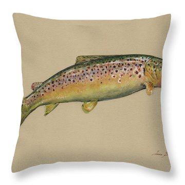 Brown Trout Jumping Throw Pillow