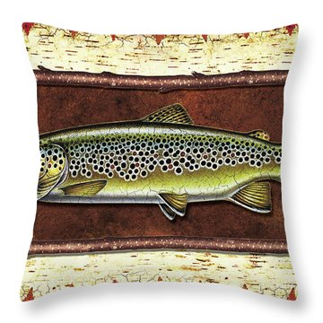 Brown Trout Lodge Throw Pillow