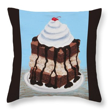 Throw Pillow featuring the painting Brownie Ice Cream Sandwich by Nancy Nale