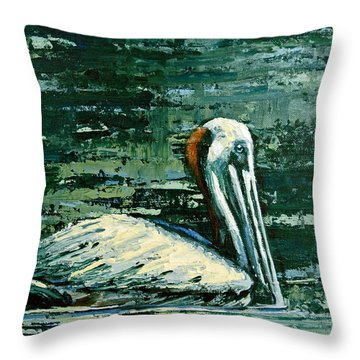Throw Pillow featuring the painting Brownie Swimming In Green Water by Suzanne McKee