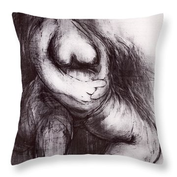 Throw Pillow featuring the sculpture Brownies's Mother / Sitting by Robert F Battles