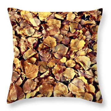 Browning Leaves Throw Pillow
