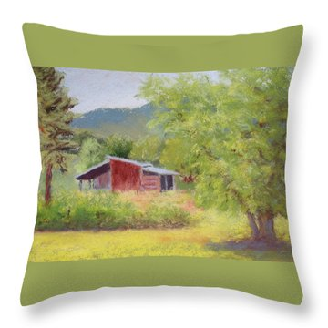 Throw Pillow featuring the painting Brown's Shed by Nancy Jolley
