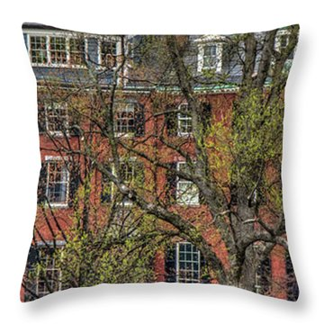 Throw Pillow featuring the photograph Brownstone Panoramic - Beacon Street Boston by Joann Vitali