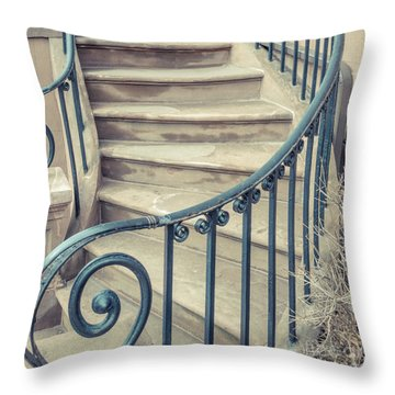 Throw Pillow featuring the photograph Brownstone Staircase Square by Edward Fielding