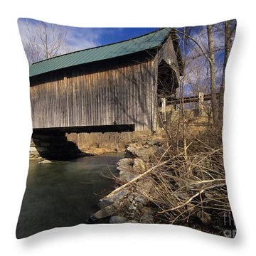 Brownsville Covered Bridge - Brownsville Vermont Throw Pillow