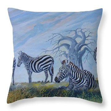 Throw Pillow featuring the painting Browsing Zebras by Anthony Mwangi