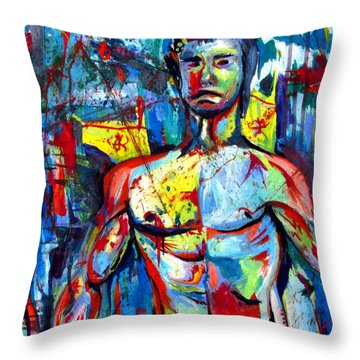 Throw Pillow featuring the painting Bruce Lee by John Jr Gholson