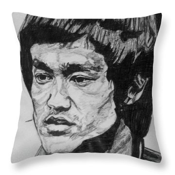 Bruce Lee Throw Pillow by Rachel Natalie Rawlins